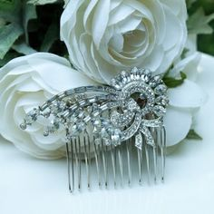 Vintage crystal rhinestone piece from the 1940's. Classic deco styling and beautifully faceted stones