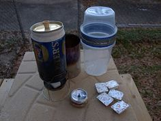 Ultralight Backpacking Cook Sets - Lots of these along the Appalachian Trail. You can easily make your own ultralight cook set and stove and use the money saved for a better sleeping bag. Your cook set should weigh less than a pound. These are about 6-8 ounces.