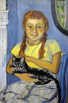 Alice Neel (American, 1900-1984) - Girl with a cat