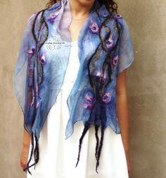 Excited to share the latest addition to my #etsy shop: Blue nuno felt long scarf boho wedding bridal scarf fashion feminine floral fairy merino Bohemian clothing gift for women http://etsy.me/2CVxFmA #accessories #shawl #blue #anniversary #christmas #purple #bluefeltsc