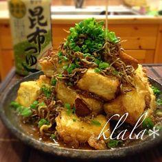SnapDishに投稿されたくららさんの料理「カリフワ揚げ出し豆腐 (ID:aujDGa)」です。「ひと手間でカリッと揚げ出し豆腐 カリカリジャコと一緒にどぞ」豆腐 揚げ出し 揚げ出し豆腐