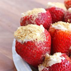 Creme Cheese Strawberries.  Hollow out the strawberry, fill with creme cheese and then sprinkle with graham cracker crumbs