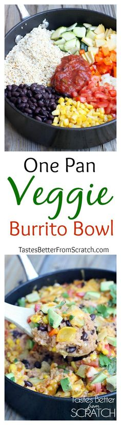 One Pan Veggie Burrito Bowls  1 1/2 cups long grain rice  1/4 cup oil  1/4 cup onion 1/2 zucchini squash  1/2 summer squash  1/2 bell peppers  1 black beans 1 cup frozen yellow corn  2 roma tomatoes  2 clove(s) garlic 2 bouillon cubes  1/4 cup salsa 2 cups chicken broth  1 1/2 cups water  to taste salt  1/2 cup shredded cheddar cheese  1 avocado 1/3 cup fresh cilantro