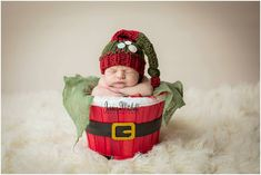 Holly Jolly Buttons and Knots Stocking Cap newborn baby