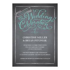 Chalkboard Script Blue Wedding Invitation
