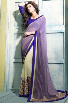 Purple designe party wear saree online from easysarees
