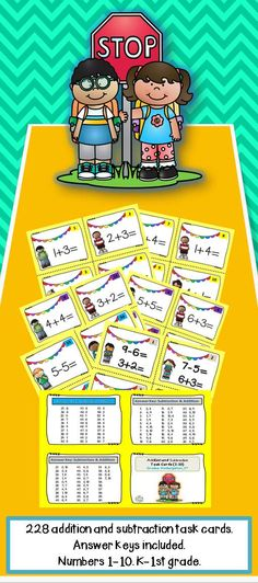 228 addition and subtraction task cards.  Great for math centers or early finishers.  Answer keys included.  Numbers 1-10.  Kindergarten - 1st grade.