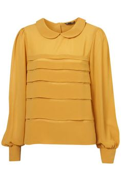 Mustard Tiered Peterpan Blouse from Topshop