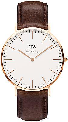 Daniel Wellington 0109DW Men's Classic Bristol Rose PVD Leather Strap Watch, Brown