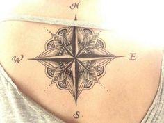 Beautiful Mandala Compass Tattoo