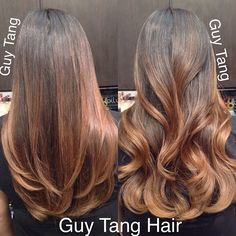 Guy Tang - I gave my client Alice rich wood tones to compliment her natural dark hair, straight or curled? You pick! #ombre #ombrehair #californianas #balayage