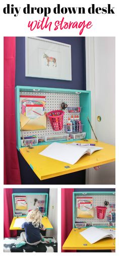 DIY Wall Mounted Drop Down Desk - perfect for kids or adults - customize how you like! DIY Wall Mounted Drop Down Desk - perfect for kids or adults - customize how you like! Wall Mounted Desk, Wall Desk, Mounted Tv, Diy Wand, Kids Crafts, Diy Kallax, Diy Bureau, Drop Down Desk, Kitchen Ikea
