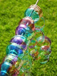 Decoração de festa espiral colorido de garrafa pet ~ VillarteDesign Artesanato