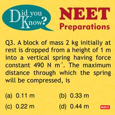 Do you know? #PhysicsProblems #NEET2018 #Physics #Questions #NEETpreparation #MTGBooks #PCMBToday Mtg Books, Physics Questions, Physics Problems, Science News, Did You Know, Health