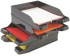 Deflecto - DocuTray Multi-Directional Stacking Tray, 2 pack