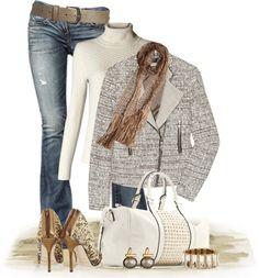 """Tweed Biker Jacket"" by johnna-cameron ❤ liked on Polyvore"