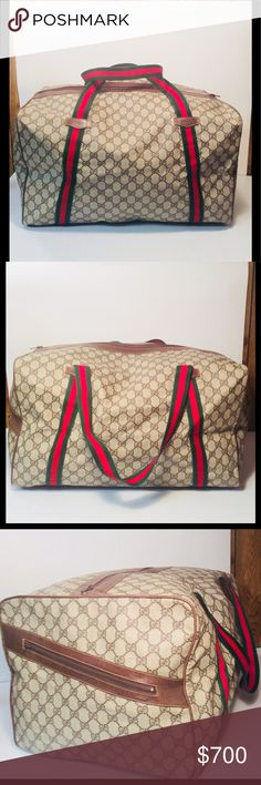 """Gucci """"GG"""" Sherry Line Carry On Duffle Travel Bag Gucci """"GG"""" Sherry Line Vintage Carry On Duffle Travel Bag ... Color: Brown ... Material: PVC / Leather ... Length: 18.5"""" ... Height: 10"""" ... Width: 12"""" ... Features: Top Zippered closure ... 2 Way handle ... Zippered exterior side pocket ... Condition ... Normal sign of use .... Leather rub ... Excellent Condition ... Guaranteed Authentic. Gucci Bags Travel Bags"""
