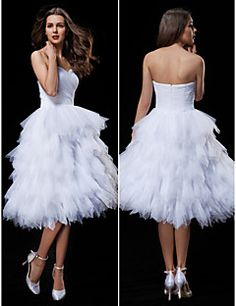 Ball Gown Sweetheart Knee-length Wedding Dress (Tulle) – USD $ 109.99