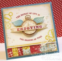 We love the bright colors used in this cool collage card.