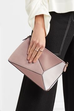 Loewe   Puzzle mini textured-leather and suede shoulder bag   NET-A-PORTER.COM