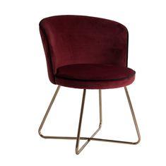 Sillón arbon Color Borgoña, Muebles Art Deco, Chair, Interior, Furniture, Fabric Textures, Home Decor, Bird Feathers, Design