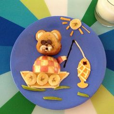 Fishing, kid food, food art, breakfast, banana bran muffin