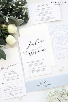Julia Elegant Calligraphy Wedding Invitation Sets Printable