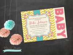 Baby Shower Invitation 5x7 Yellow Pink & Aqua by LittleOwlBows, $15.00