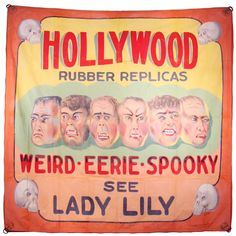 Hollywood Rubber Replicas Sideshow Banner This is a large sideshow banner painted by Chicago based Fred g Johnson in the 1960s. Originally commissioned by minister Harold J Potter. Harold Potter used to perform magic tricks in and outside of the church, soon producing a sideshow, in which these were painted for. Signed by Johnson.