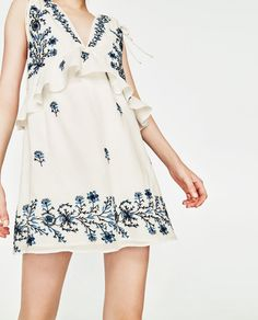 Image 2 of EMBROIDERED V-NECK DRESS from Zara