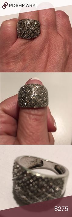 🎄1 HR FLASH SALE ⚡️Diamond Cluster Band Ring 10kt White Gold Diamond Cluster Band Ring size 6, in excellent condition. 1 Carat total diamonds! TV is retail price! Jewelry Rings