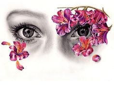 By Kate Powell. An Eye Drawing with Flowers. Art And Illustration, Illustrations, Kate Powell, Angel And Devil, A Level Art, Gcse Art, Amazing Art, Art Drawings, Pencil Drawings