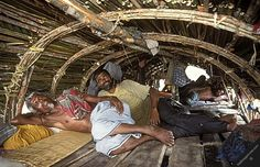 bangladesh sundarbans people transport mawalis inside their traditional wooden boat roof made mangrove tree poles and-reed mouala honey gath...