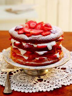 Stacked Strawberry Sponge Cake