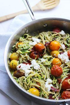 Whole-Wheat and Zucchini Spaghetti with Basil Almond Pesto, Blistered Tomatoes and Crispy Prosciutto