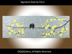 """Could be done in glass     36""""  Love Birds Painting """"Never Alone"""". via Etsy by QiQiGallery"""