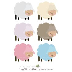 Little Sheep Digital Clipart - Personal and Commercial Use - Scrapbooking, Cards, Invitations, Paper Crafts etc Eid Crafts, Paper Crafts, Ideas Scrap, Craft Ideas, Sheep Cartoon, Rabbit Silhouette, Eid Stickers, Sheep Crafts, Baby Whale