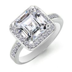 Vintage Sterling Silver Asscher Cut CZ Diamond Engagement Ring 4ct