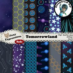 Check out this hot item from Foxy Expressions! Get it today! www.FoxyExpressions.com Tomorrowland digital paper pack inspired by Miles of Tomorrowland. Designs includes #space, #planets, light speed, #stars, TTA, Rockets, & more  This pack is great for scrapbo... #popular #hotitem #foxyexpress #sale #tomorrowland #tta #rockets #universe
