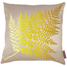 Buy Clarissa Hulse Fern Ombre Cushion, Pebble/Turmeric Online at johnlewis.com