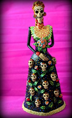 Mexican devotional decor: La Catrina - clay and hand painted. Mexican folk art decor.