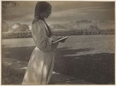 """""""A frequent model for Käsebier and F. Holland Day, Beatrice Baxter Ruyl, who posed here, made illustrations for children's books and the Boston Herald.""""   The Sketch (1903)   Gertrude Käsebier  (American, 1852–1934)   Platinum print   The Metropolitan Museum of Art (The Collection Online)"""