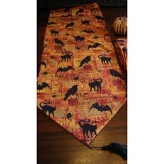 Halloween Party Table Runner Black Cats, Crows, Spiders, R.I.P