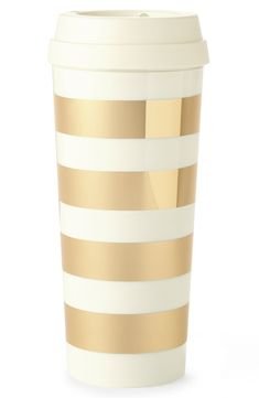 The perfect gold striped thermal mug for on-the-go.