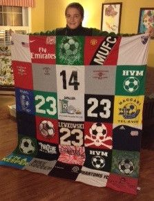 """Lea Lewkowski ordered three Project Repat t-shirt quilts for holiday gifts. The first two were Hanukah gifts, """"This one is for my soccer nut of a kid! Soccer Room, Kids Soccer, Play Soccer, Soccer Party, Basketball Gifts, Sports Gifts, Softball Gifts, Hanukkah Gifts, Holiday Gifts"""