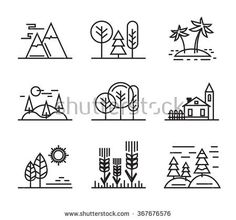 vector black flat nature icons on white