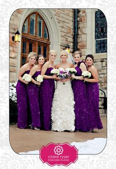 Bridesmaids in Purple Long Dresses -Snowy Bridal Party - Bridal Party Photos - Ruffled Dress - White Snow - Tea Length Veil - Winter Bride - Downtown Kansas City Winter Wedding - New Years Eve Bridal Party - Outdoor Pictures - Purple Bouquet