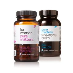 """""""Womens Daily Wellness"""" daily vitamins; one month supply $35.95.    http://www.purematters.com/womens-daily-wellness/p/LQB020/"""