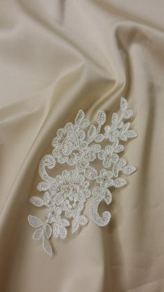 Lace applique Ivory lace French Chantilly by DelightfulWedding