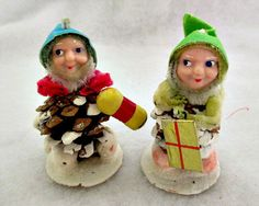 2 Pinecone Elf Gnome Vintage Christmas  Decorations on Etsy, $12.50